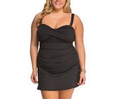 NWT Anne Cole Plus Size Twist-Front Strapless One-Piece Swimdress Black Size 20W