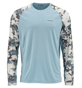 Simms Solarflex Crewneck Shirt - Hex Flo Camo Grey Blue - L -  SALE free US ship