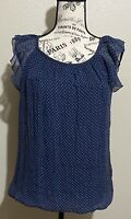 NWT Luisa Ricci Blouse Women's 100% Silk Navy Polka Dots Top Size Small