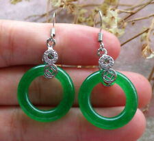 Green Jade Circle Donut Imitation Diamond White Gold Plated Coin Hook Earrings
