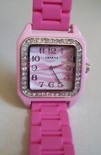 Fashion Jelly Pink Silicone/ Zebra Dial Rhinestone Girl's,Women's Wrist  Watch