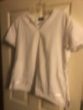 Cherokee White Scrub Top With Lace Bottom Two Pockets Size Large