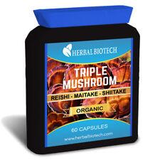 HerbalBioTech Triple Mushroom Complex Reishi Maitake Shiitake 60 Capsules