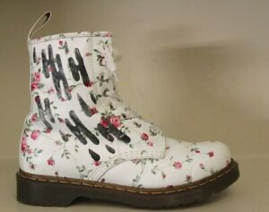 Dr Martens Womens Ankle Boots Sz 8 / 39 8 Eyelet White Leather Rose Flower Theme