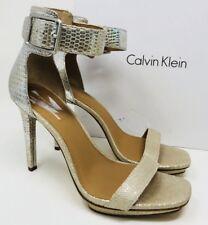 fd76ab09701 Calvin Klein Women s Vable Ankle Strap Dress Sandals Size 8.5 Sand Silver