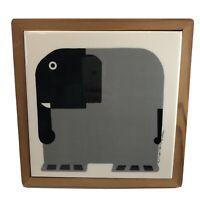 Vintage Taylor Ng 1983 Elephant Minimals Black Gray Tile Trivet Wood Frame Japan
