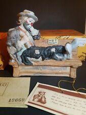 Flambro Emmett Kelly Jr Clown Wet Paint Bench Miniature Collection Figurine