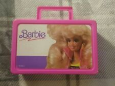 1990 Barbie doll Mattel pink pencil case with handle