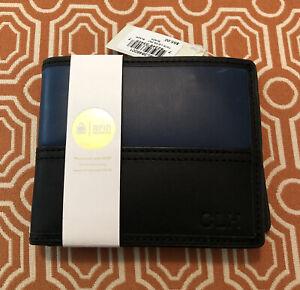 Fossil Men's Leather Wallet - RFID Blocking, Dark Blue & Black