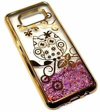 For Samsung Galaxy S8+ PLUS Gold Owl Flowers Pink Glitter Liquid Waterfall Case
