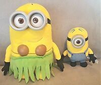 "2 Minion Plush Dolls: 10"" JERRY TALKING Hula Skirt & 6"" STUART Plush Legends"