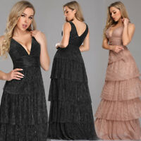 Ever-Pretty Long Formal Layered Party Dress V-neck Formal Evening Dresses 07766