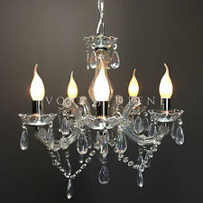 CHROME CHANDELIER VINTAGE MARIE THERESE GLASS & CRYSTAL 5 ARM LIGHT LAMP NEW