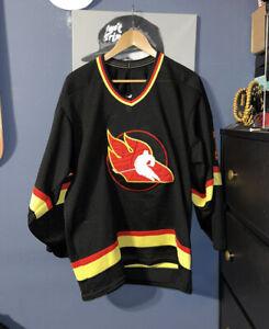 Vintage Oklahoma City Blazers Hockey Jersey Sz Medium Flames 90s