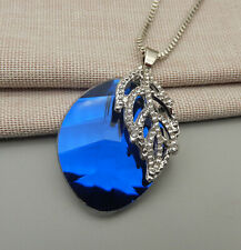 Leaf Oval Pendant Sweater Necklace Betsey Johnson Blue Clear Crystal