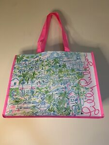 Lilly Pulitzer Market Carryall Tote Shopping Bag Blue Leaves Elephants Pink 1