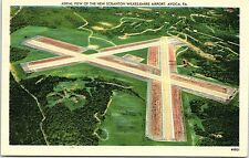 Linen Postcard Aerial View of the New Scranton Wilkes-Barre Airport Avoca PA
