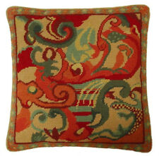 """17""""x17"""" Handmade Antique Looking Cloudy Wool Needlepoint Red Green Gold Pillow"""