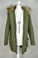 JAEGER Khaki green fur hooded parka coat jacket XS oversized FITS UP TO 10
