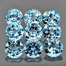 5 PIECES OF 3mm ROUND-FACET STRONG AQUA-BLUE LAB AQUAMARINE GEMSTONES