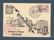 carte  1er jour  journée du timbre   83  Toulon   1963