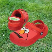 NWT CROCS Crocband Sesame Street Elmo Kids Lined Clogs Red Size 2