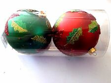 2 Red Green Poinsettia Holly Leaves 4.5 In Shatter Resistant Christmas Ornament