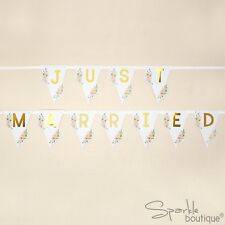 JUST MARRIED CAR BUNTING -Gold & Floral Wedding Banner/Sign- FULL RANGE IN SHOP