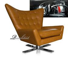 Drehbarer Leder Ohrensessel, Lounge Sessel, Armlehnsessel, Fernsehsessel Leder