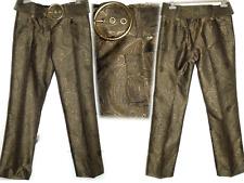 Michael Kors Runway Cintura Alta Pantalones Recto Piernas Sz.8 Slaks M Jacquard