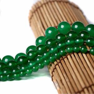 6/8/10/12mm Natural Smooth Green Jade Round Gemstone Loose Beads 15'' Strand
