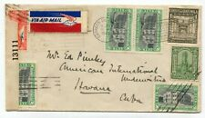 Guatemala 1943 WWII Airmail Cover to Havana - BUT CENSORED IN USA -