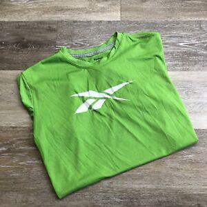 REEBOK Crew Neck Graphic Short Sleeve Green Casual Basic T-Shirt Boy's Size L