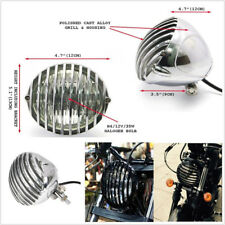 """Motorcycle Scalloped Aluminum Finned Grilled & Black Body 5 3/8"""" LED Headlight"""