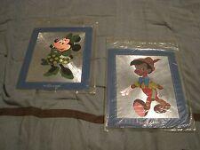 "Walt Disney "" Minnie Mouse & Pinnochio "" 8x10  vintage foil art print"