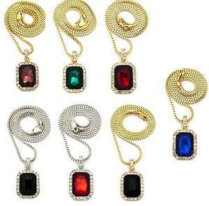 "Hip Hop Micro Square Colorful Gemstone Pendant 2mm 24"" Box Chain Necklace XZ122"