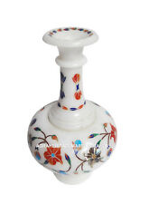 Marble Flower Vase Pot Rare Inlay Gems Mosaic Floral Art Table Decor Gifts H1345