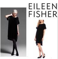 SMALL NWT  Eileen Fisher Black Washable Velvet Bateau Neck Shift Dress $338