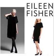 M NWT  Eileen Fisher Black Washable Velvet Bateau Neck Shift Dress $338