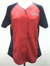 NIKE Anaheim Angels Jersey Shirt Red Blue SEWN Sparkle Button Up Women's L RARE