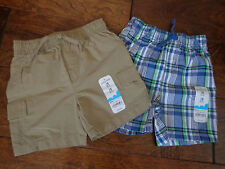 JUMPING BEANS boy's sz 18 months NWT cotton blend shorts (2) brown/green/blues