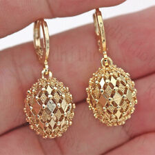 Fashion 18k Yellow Gold Plated Hollow Drop Earrings Women Wedding Jewelry A Pair