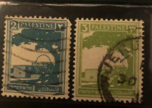 1927 BRITISH MANDATE FOR PALESTINE LOT OF 2-Stamps Rachel's Tomb,Tiberius