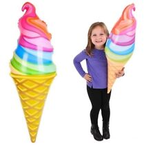 (1) 36 Inch Inflatable Blow Up Rainbow Ice Cream Cone Party Decoration Photo Op