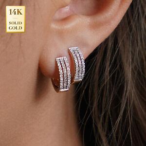 14K Real Solid Gold Micropavé Natural Diamond Hoop Earrings Cartilage Tragus Ear