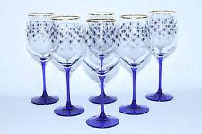 EXCLUSIVE Russian Imperial Lomonosov Set 6 Glasses for Wine Cobalt Net Rare