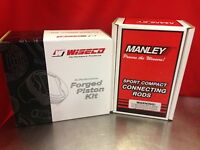 WISECO 81.5MM 9.1:1 CR HONDA LSVTEC PISTONS WITH MANLEY H-BEAM CONNECTING RODS