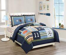 Fancy Linen 5pc Twin Comforter Set Sport Navy Football Basketball Baseball New