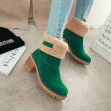 Womens Thicken Fleece Ankle Snow Boots Med Block Heels Round Toe Winter Shoes
