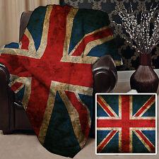 147x147cm Doux Couverture polaire Housse Grunge 2 Union Jack Design lit canapé